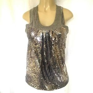 Poleci Sequin Tank Top Blouse Shirt Gray 6 S